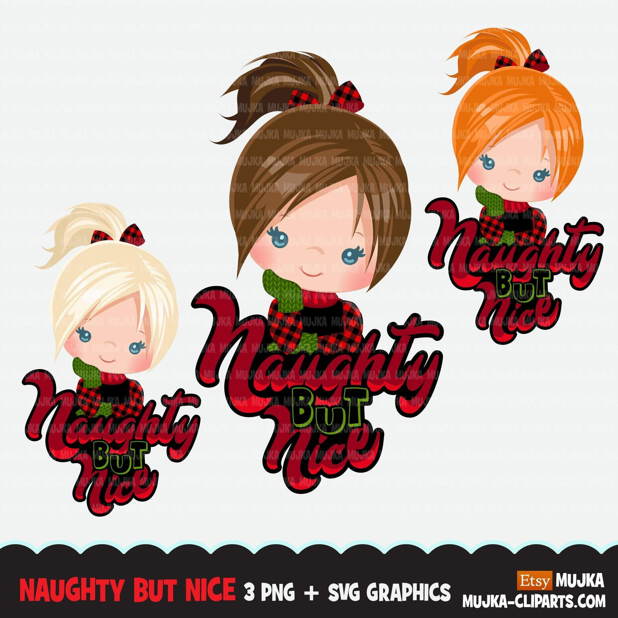 Christmas PNG digital, Naughty but Nice HTV sublimation image transfer clipart, little girl