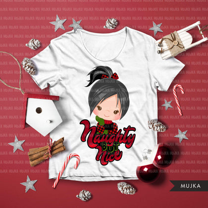 Christmas SVG PNG digital, Naughty but Nice HTV sublimation image transfer clipart, t-shirt graphics, Plaid little girl characters lettering