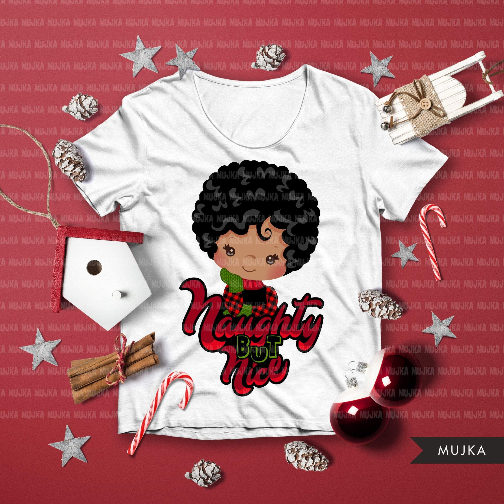 Christmas SVG PNG digital, Naughty but Nice HTV sublimation image transfer clipart, t-shirt graphics, Afro Plaid little girl characters