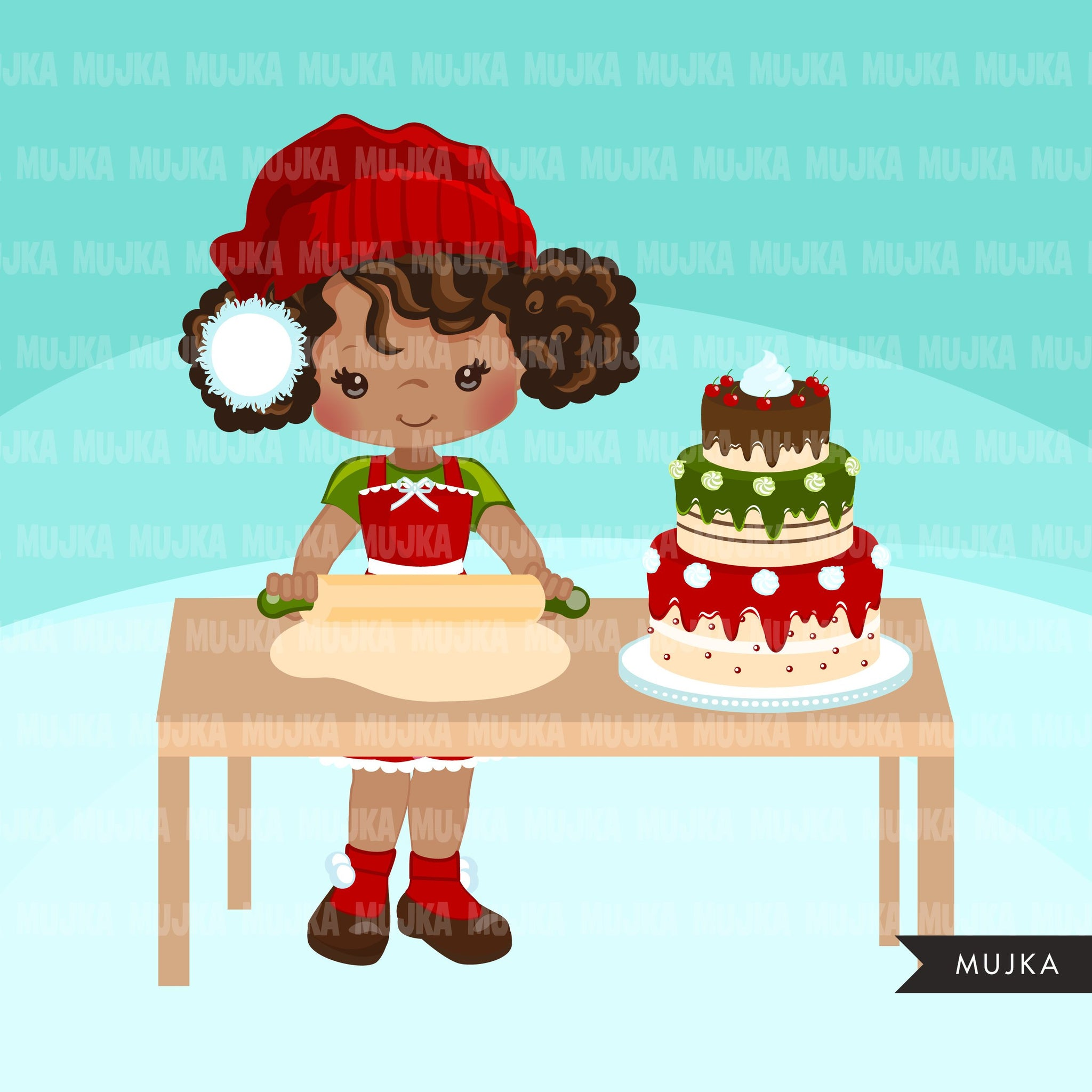 Christmas Baking Clipart, Cute baker girl characters, kitchen, baking party