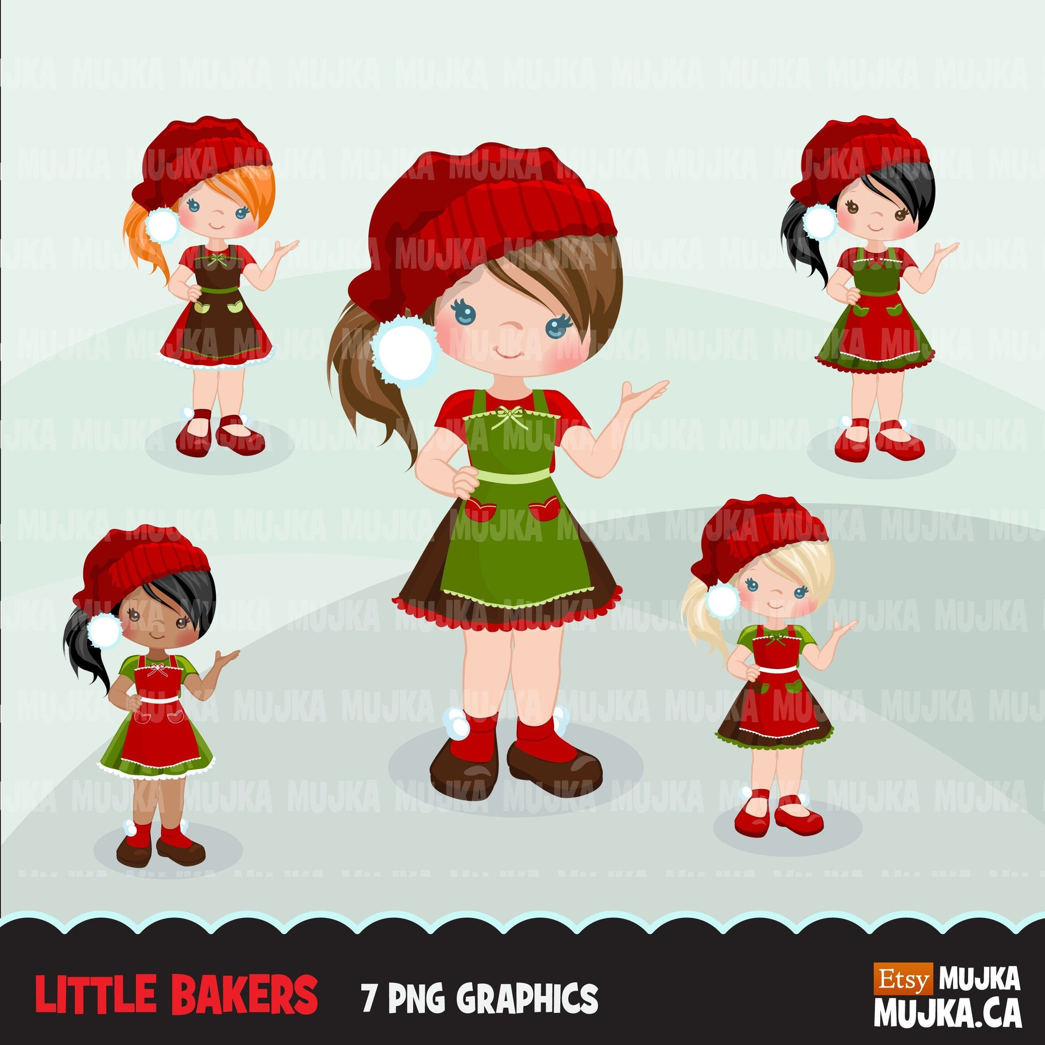 Christmas Baking Clipart, Cute baker girl characters, kitchen baking party, pastry chef, baking fun clip art