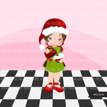 Christmas Baking Clipart Cute baker characters, kitchen baking party, girl pastry chef, cookie graphics, baking fun clip art