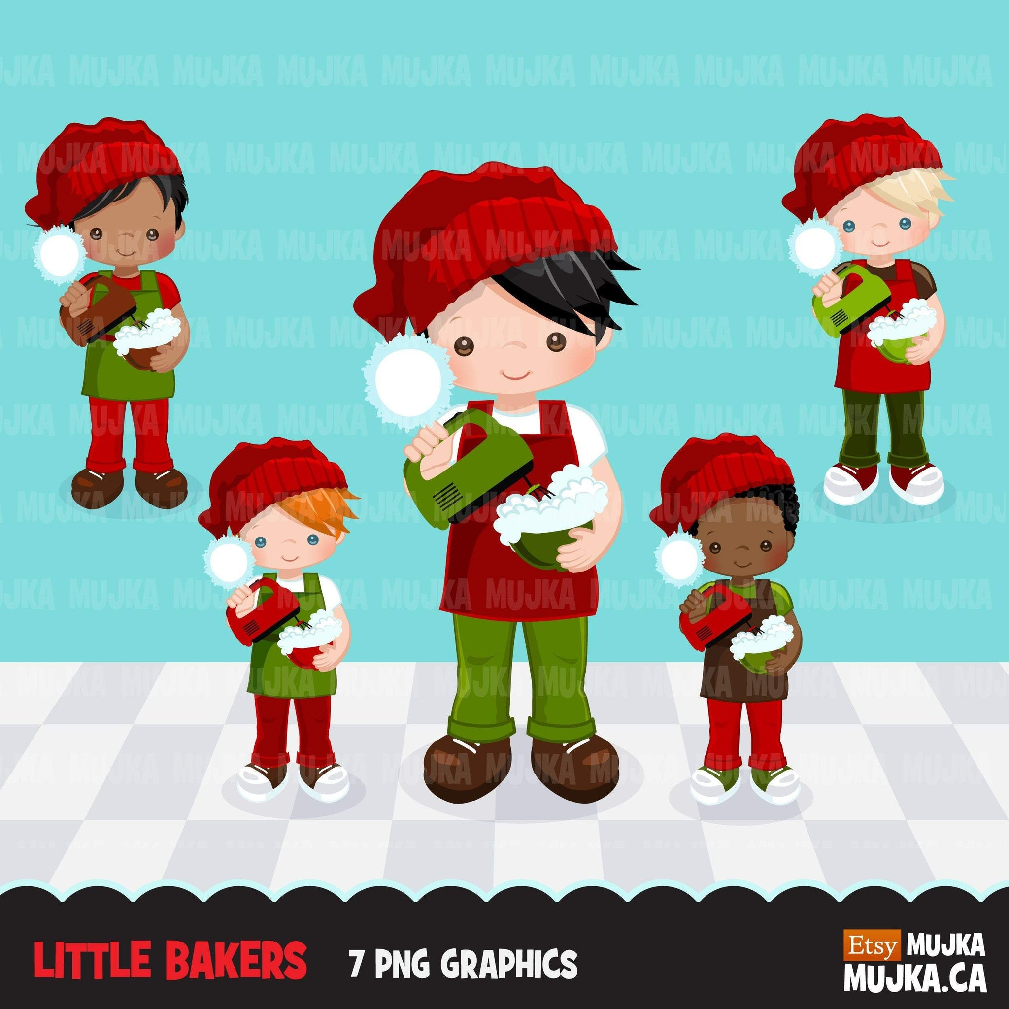 Christmas Baking Clipart, Cute baker boy characters, kitchen baking party, cake pastry chef, baker graphics, baking fun clip art