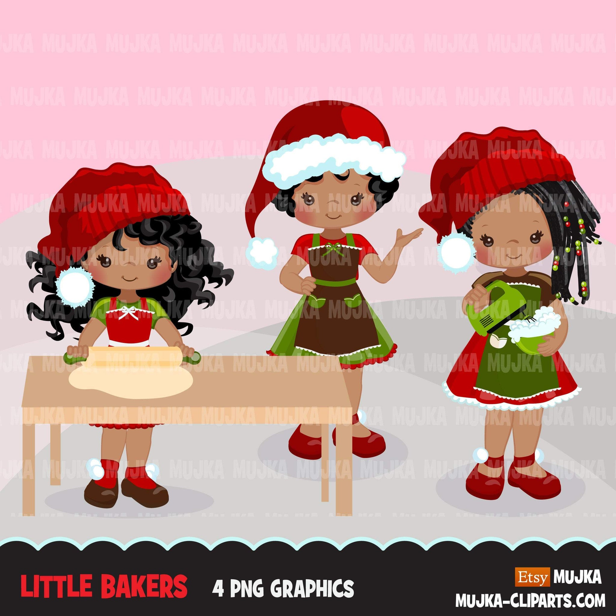 Christmas Baking Clipart, Cute afro girl baker characters, kitchen baking party, pastry chef, cookie graphics, baking fun clip art