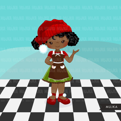 Christmas Baking Clipart, Cute afro girl baker characters, kitchen baking party, rolling pin, mixer graphics, baking fun clip art