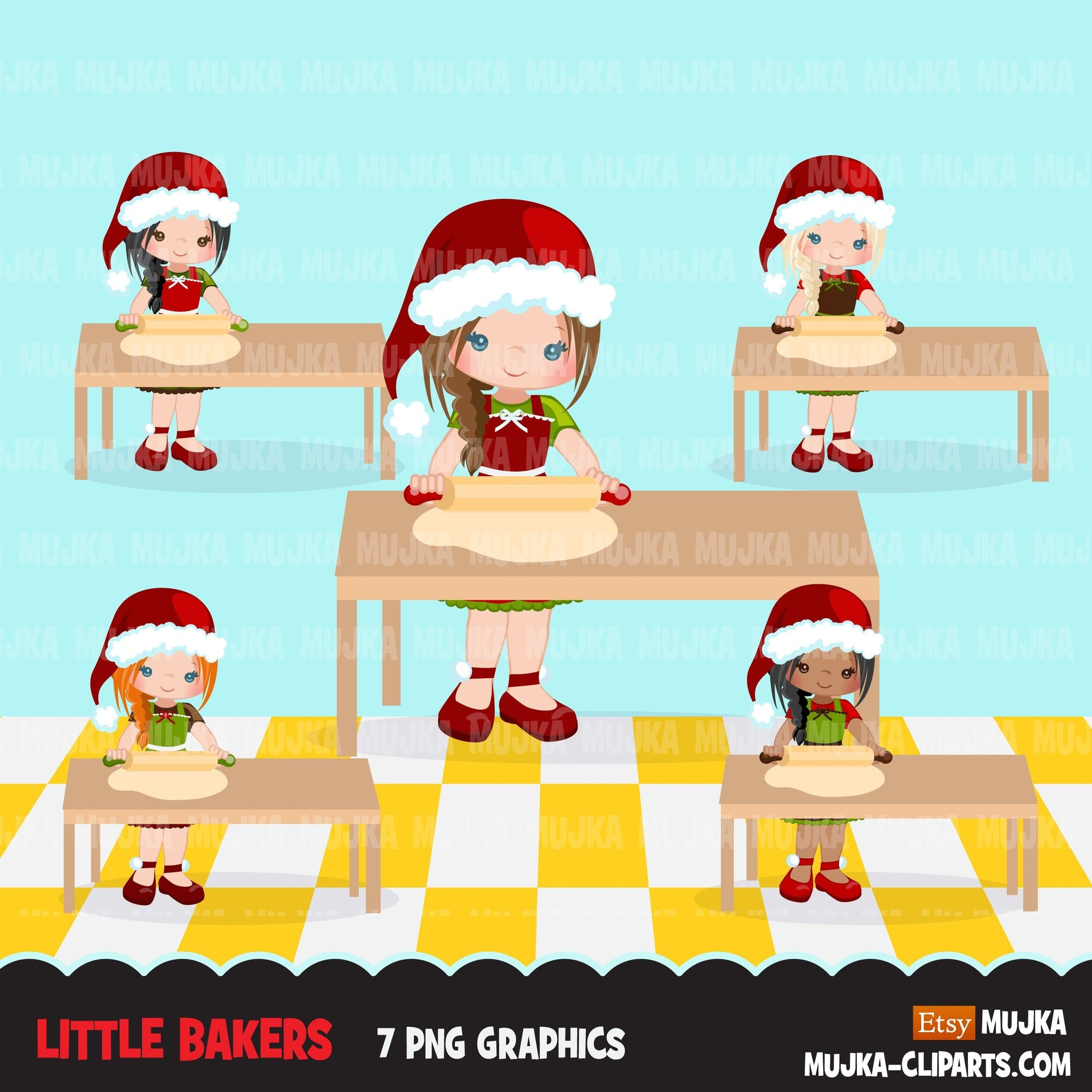 Christmas Baking Clipart Cute baker girl characters, kitchen baking party, rolling pin, pastry chef, cookie graphics, baking fun clip art