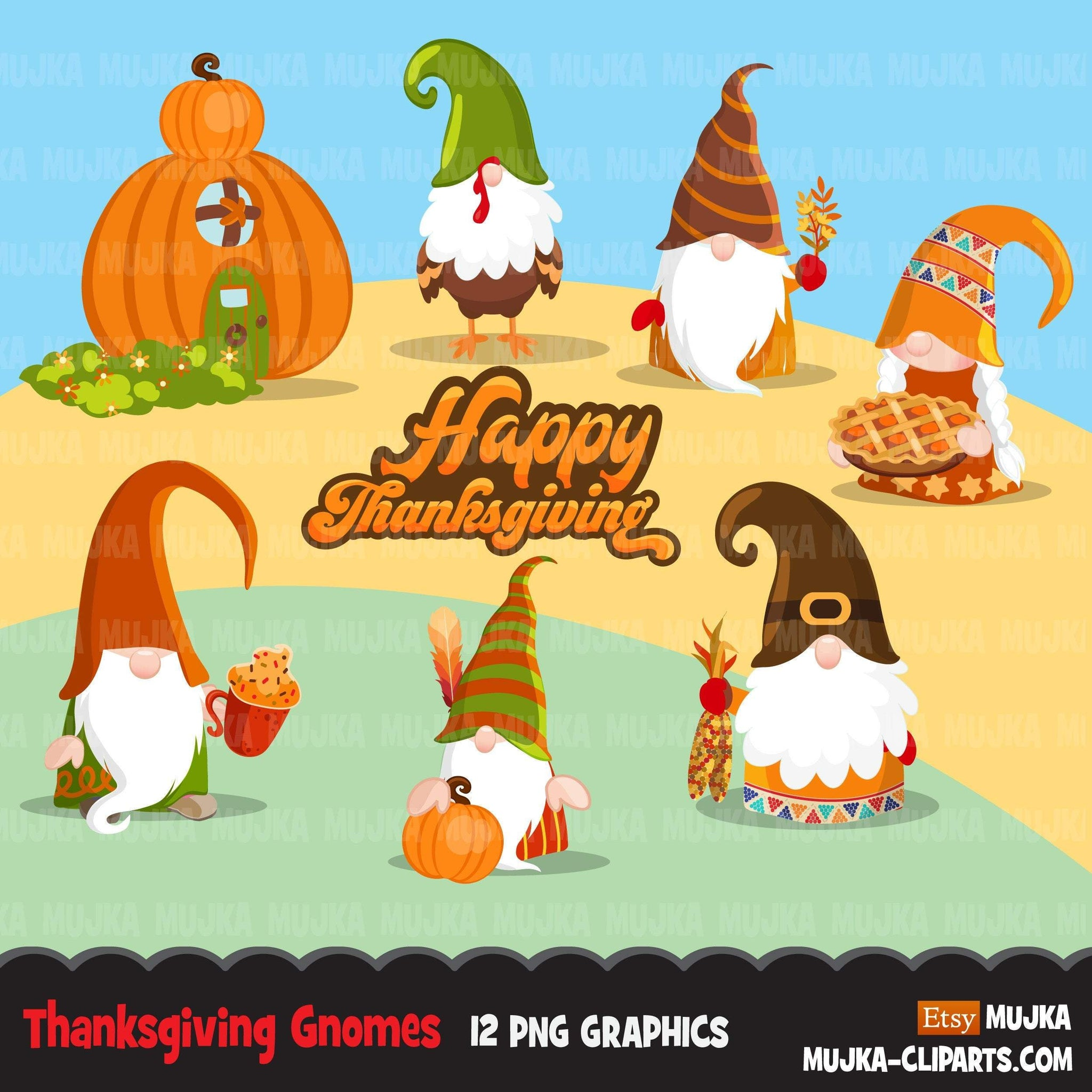 Thanksgiving gnomes Clipart, Scandinavian Gnome graphics, pumpkin, gobble gobble cute characters clip art