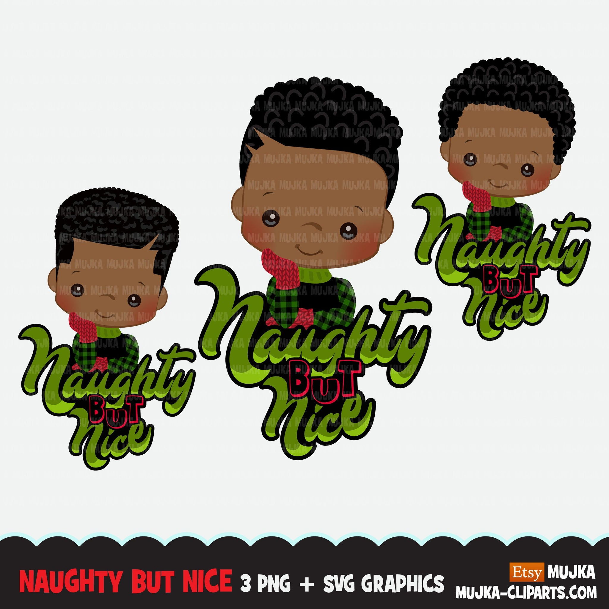 Christmas SVG PNG digital, Naughty but Nice HTV sublimation image transfer clipart, t-shirt graphics, Afro Plaid little boy characters