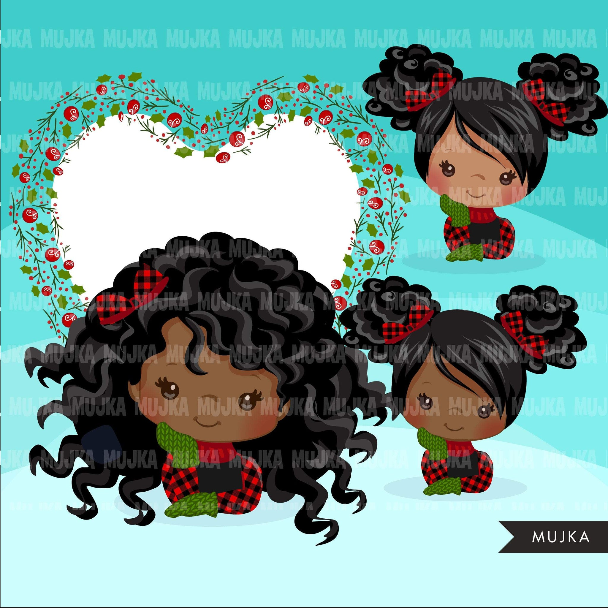 Christmas clipart, Cute afro black girls with plaid and noel frame, Holiday graphics, clip art
