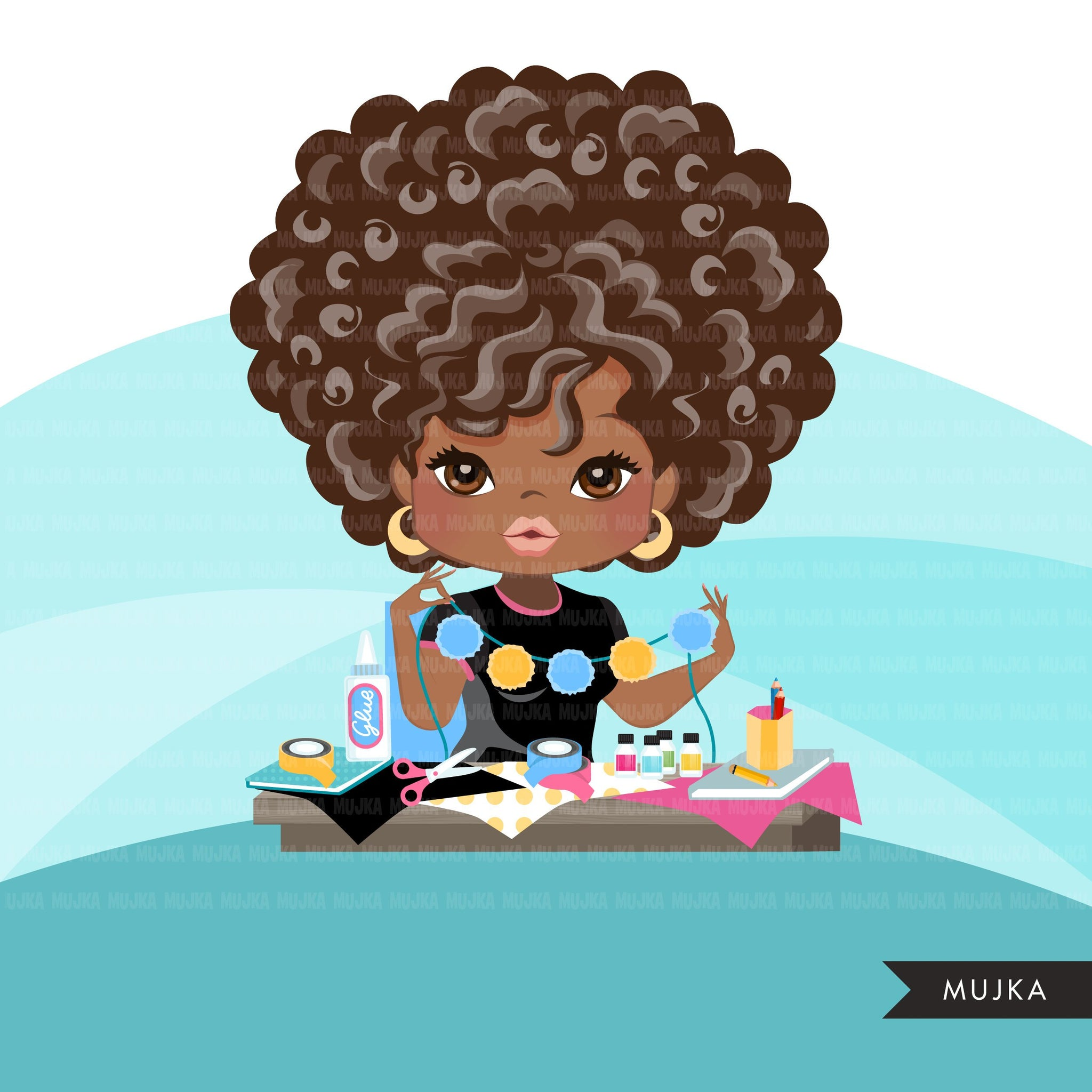 Afro black woman crafter avatar clipart with scrapbooking graphics African-American girl, print and cut T-Shirt Designs, Black Girls clip art