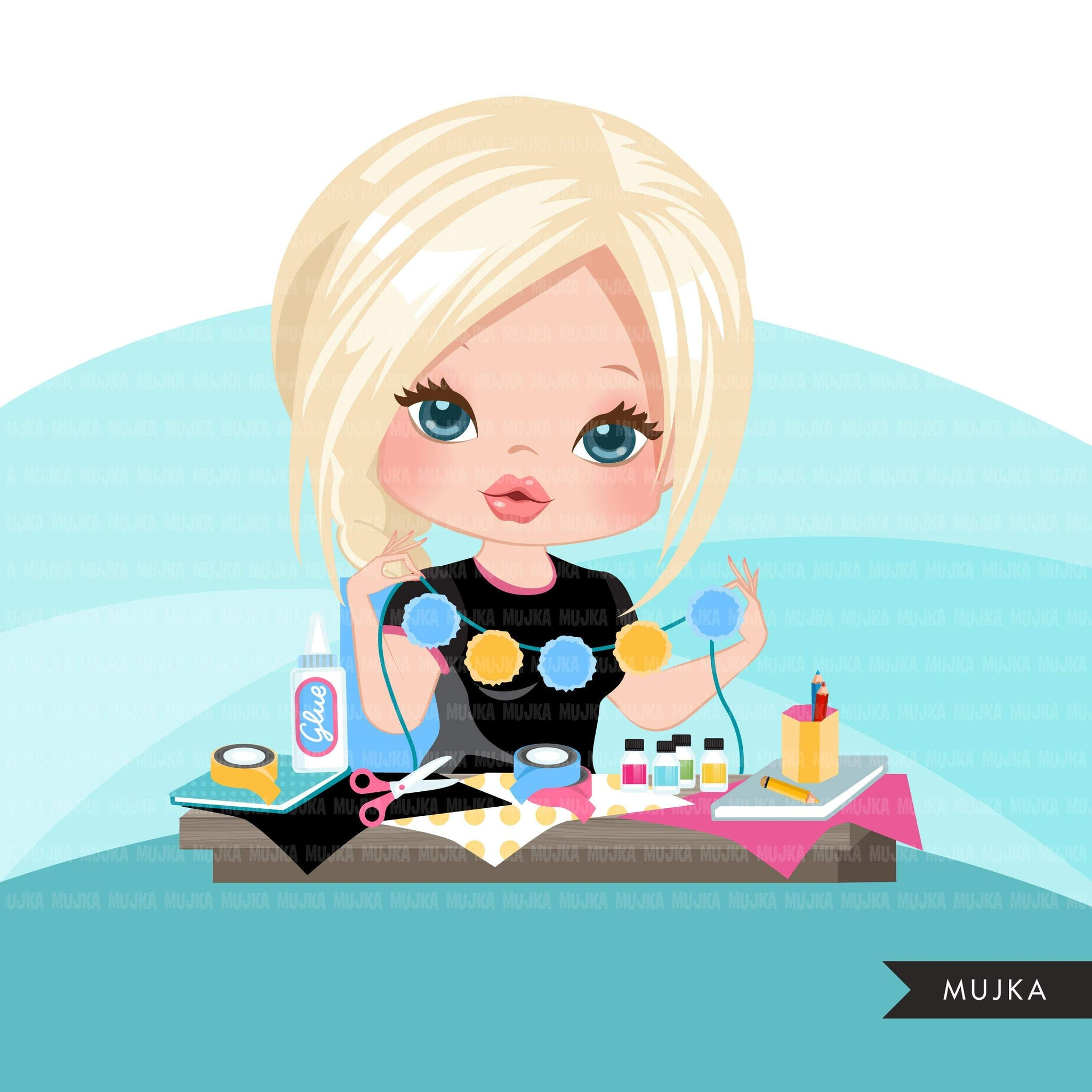 Woman crafting avatar clipart with scrapbooking graphics girl, print and cut T-Shirt Designs, clip art