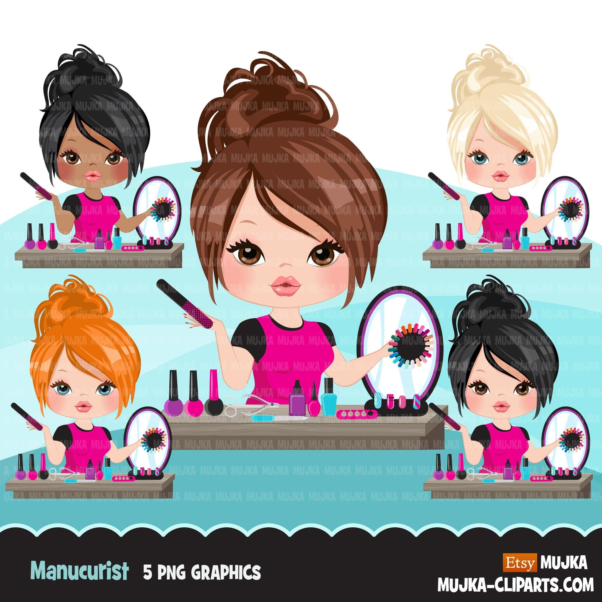 Woman manicurist avatar clipart with nail art graphics girl, print and cut T-Shirt Designs, nail technician clip art