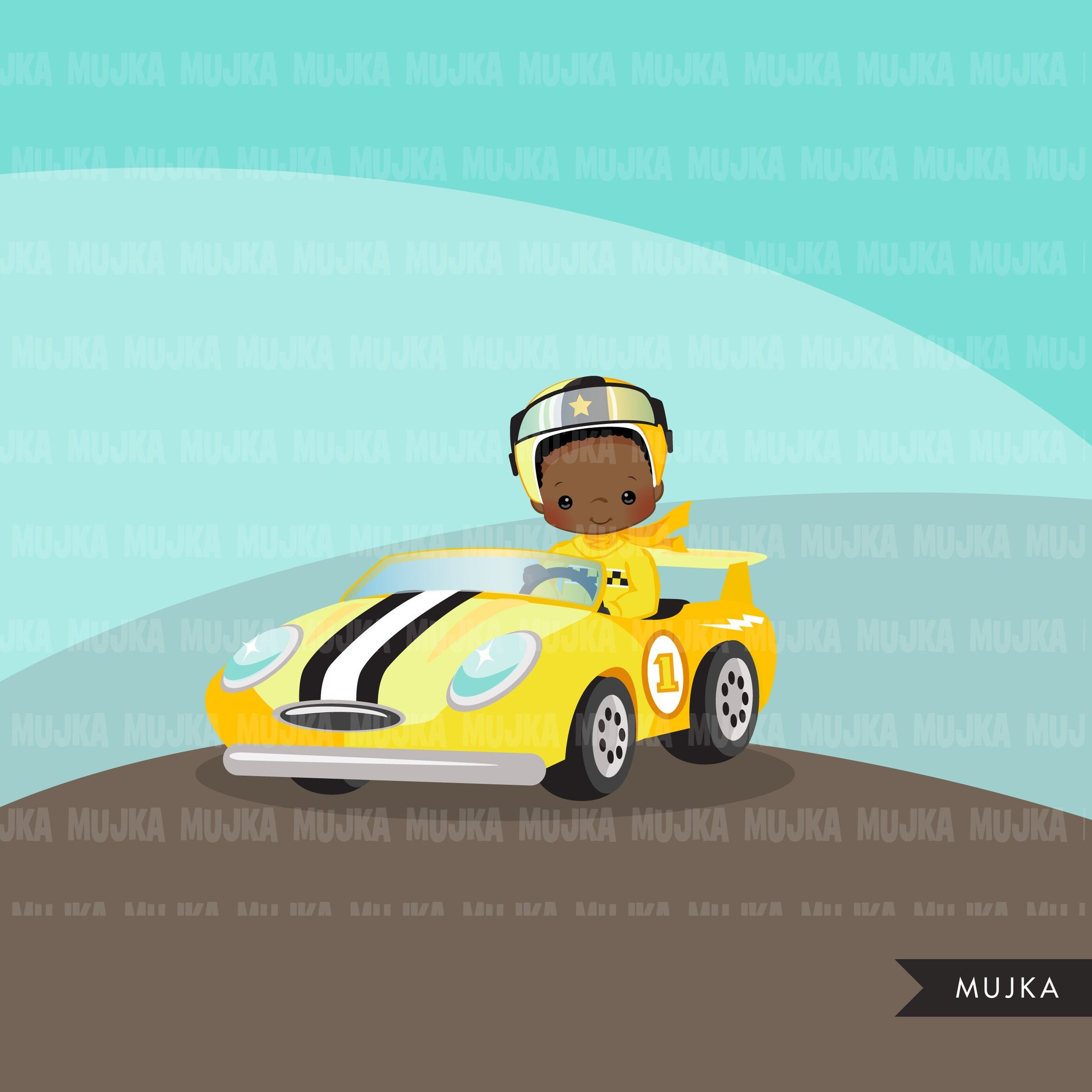 Car Racing Clipart, Race car driver Formula 1 graphics, boys birthday yellow team clip art, planner stickers, commercial use, F1 racing
