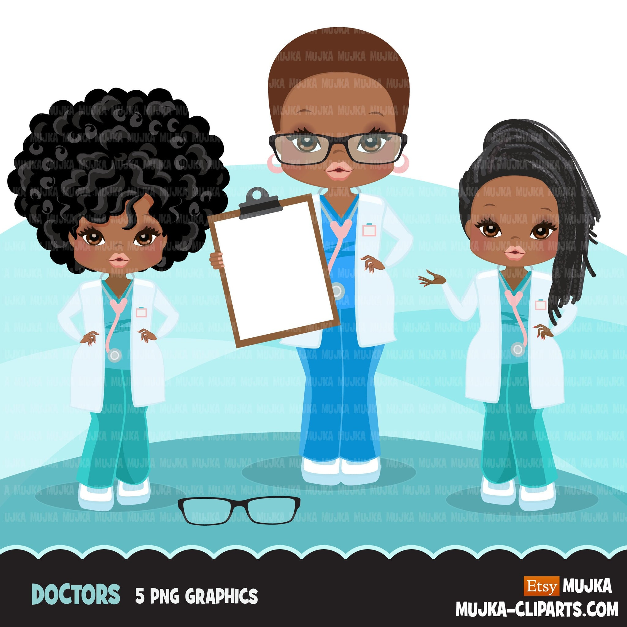 Afro Doctor clipart with scrubs , patient chart graphics, print and cut PNG T-Shirt Designs, Medical clip art, black woman