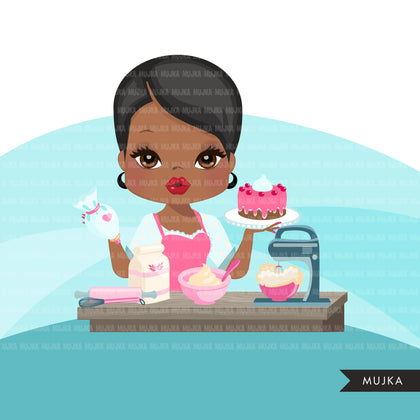 Afro Woman baker avatar clipart with baking supplies, print and cut, baking black girl clip art