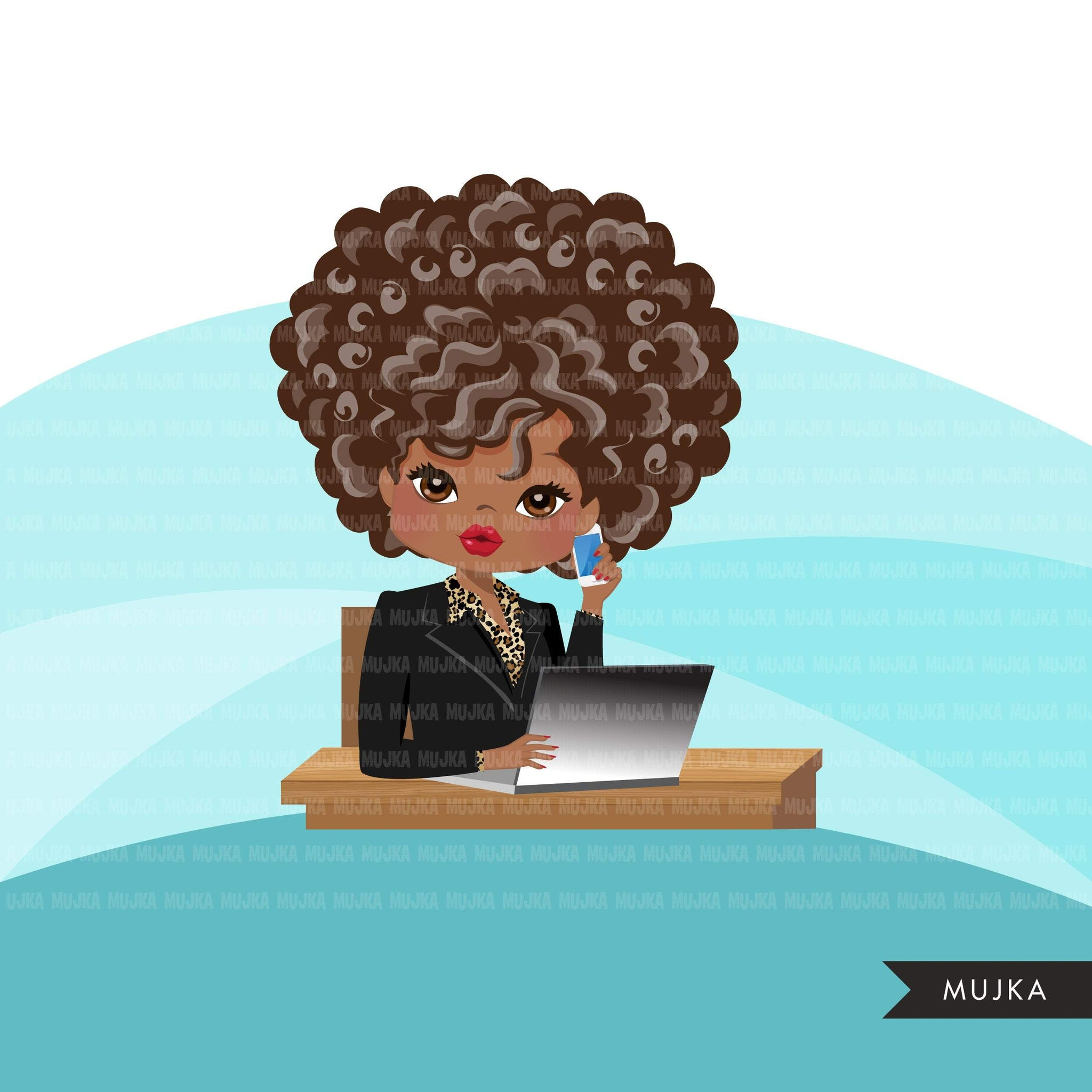 Afro Woman business avatar clipart with laptop and cellphone, print and cut, business boss black girl clip art