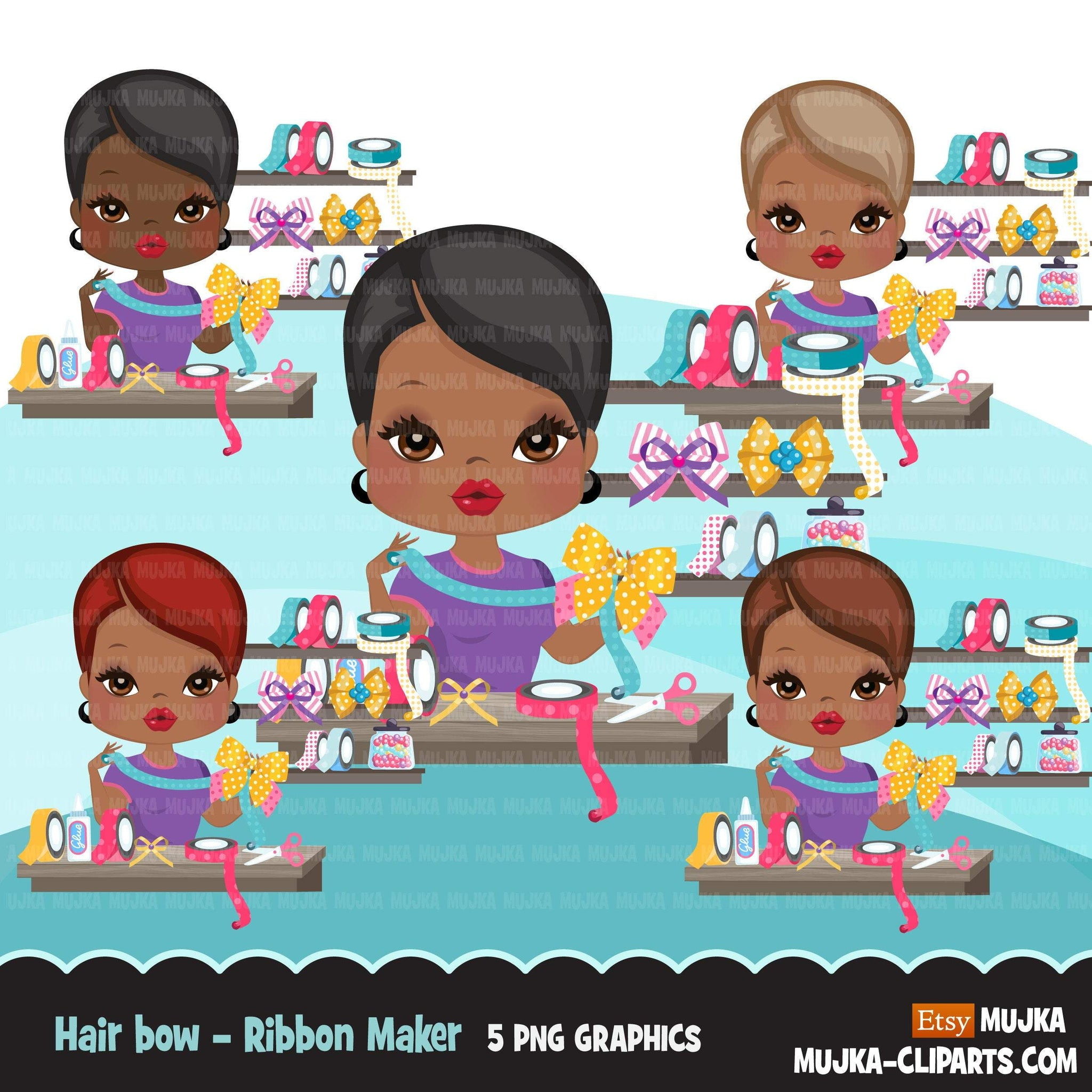Afro Woman hair bow maker avatar clipart with ribbons, print and cut, bow maker boss black girl clip art