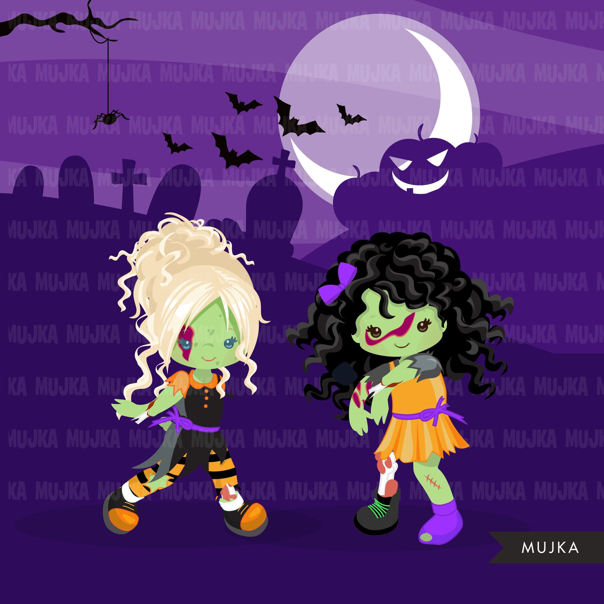 Halloween zombie kids clipart 2 Cute zombies, grave, rip, brains graphics Halloween party clip art, boys girls