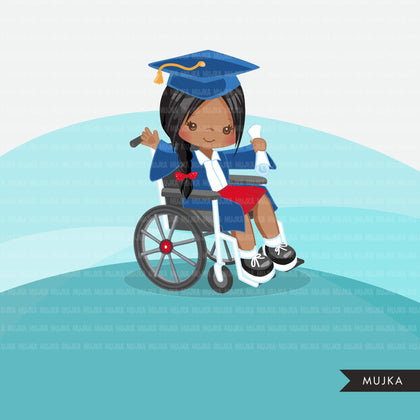 Special Needs Wheelchair graduate girl clipart, school graphics