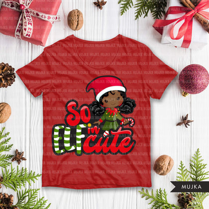 Christmas SVG PNG digital, So Elfin Cute HTV sublimation image transfer clipart, t-shirt graphics, Black Elf little boy and girl