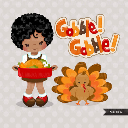 Thanksgiving Clipart, African American thanksgiving graphics with gobble gobble Turkey and fall, boy and girl