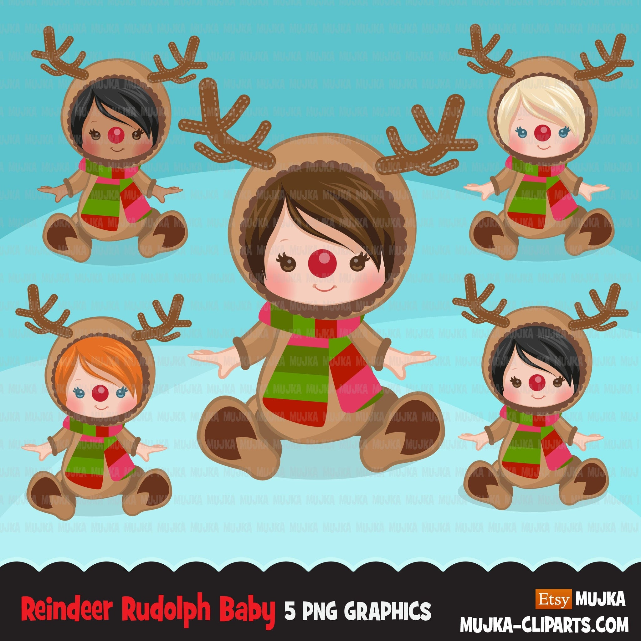 Reindeer Rudolph Baby clipart, reindeer Christmas costume baby shower graphics, card making, birthday party, african american baby, animal clip art