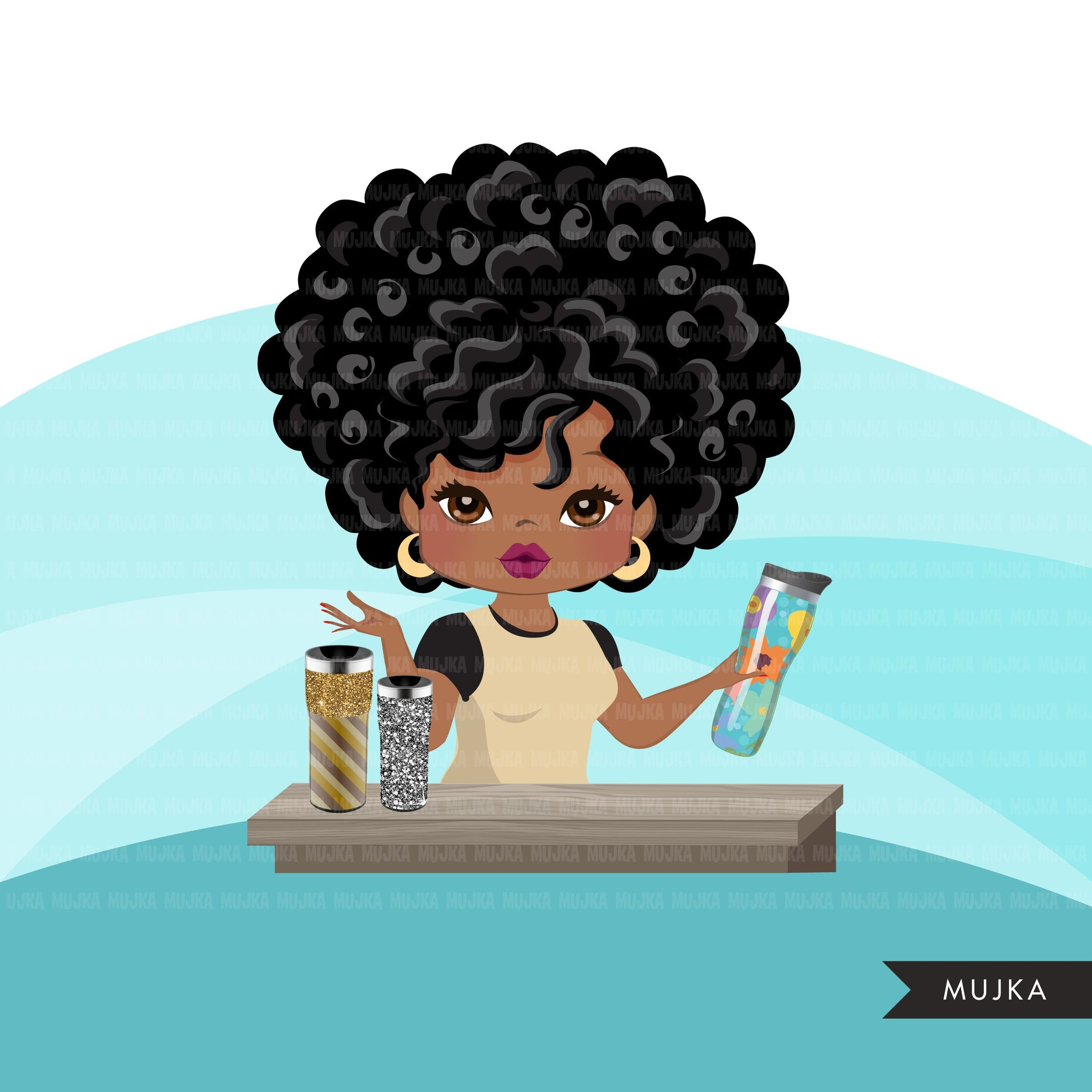 Afro Boss Woman tumbler designer avatar clipart with glitter tumblers, print and cut, crafty maker boss black girl clip art