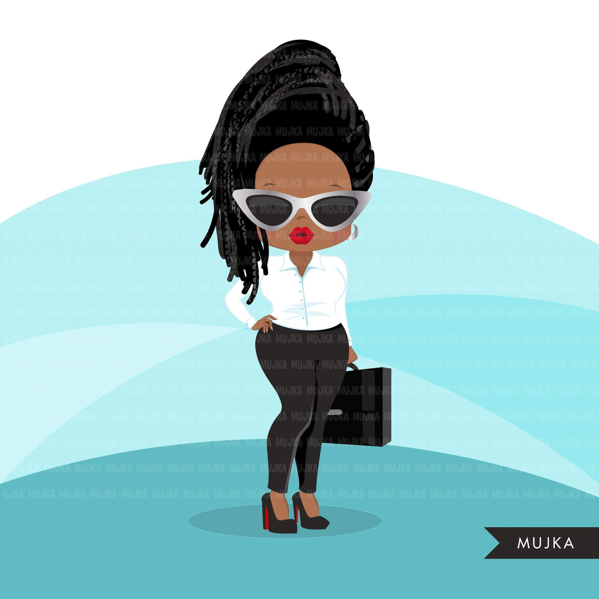 Afro black woman clipart with business suit, briefcase and glasses African-American graphics, print and cut T-Shirt Designs, Black Girls clip art