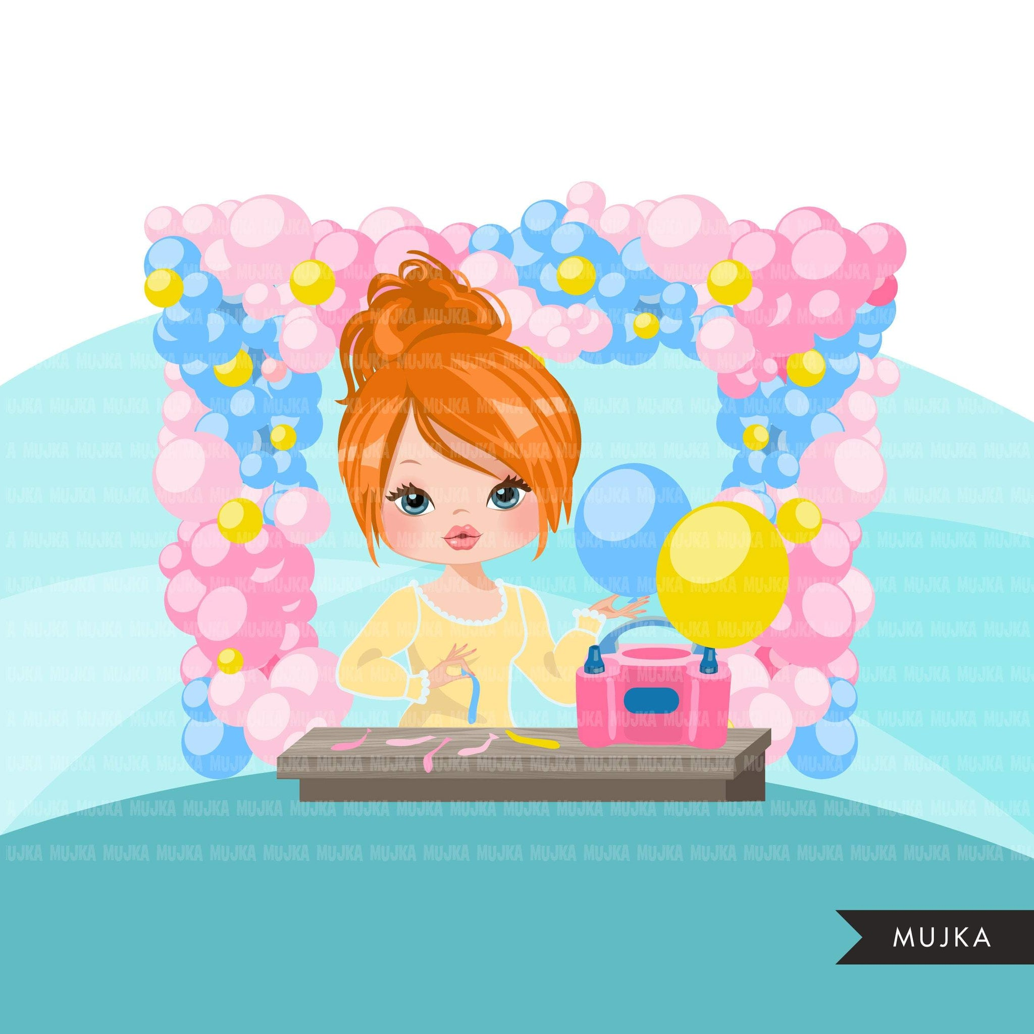Balloon Arch Designer avatar clipart, print and cut, business boss girl clip art, party planner, event organizer graphics