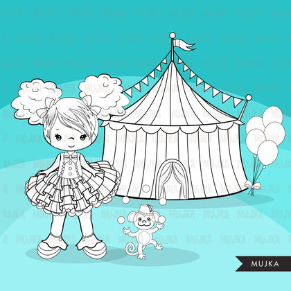 Circus Digital Stamps Big top carnival graphics, amusement park, elephant, monkey, magic show, birthday party, B&W clip art outline