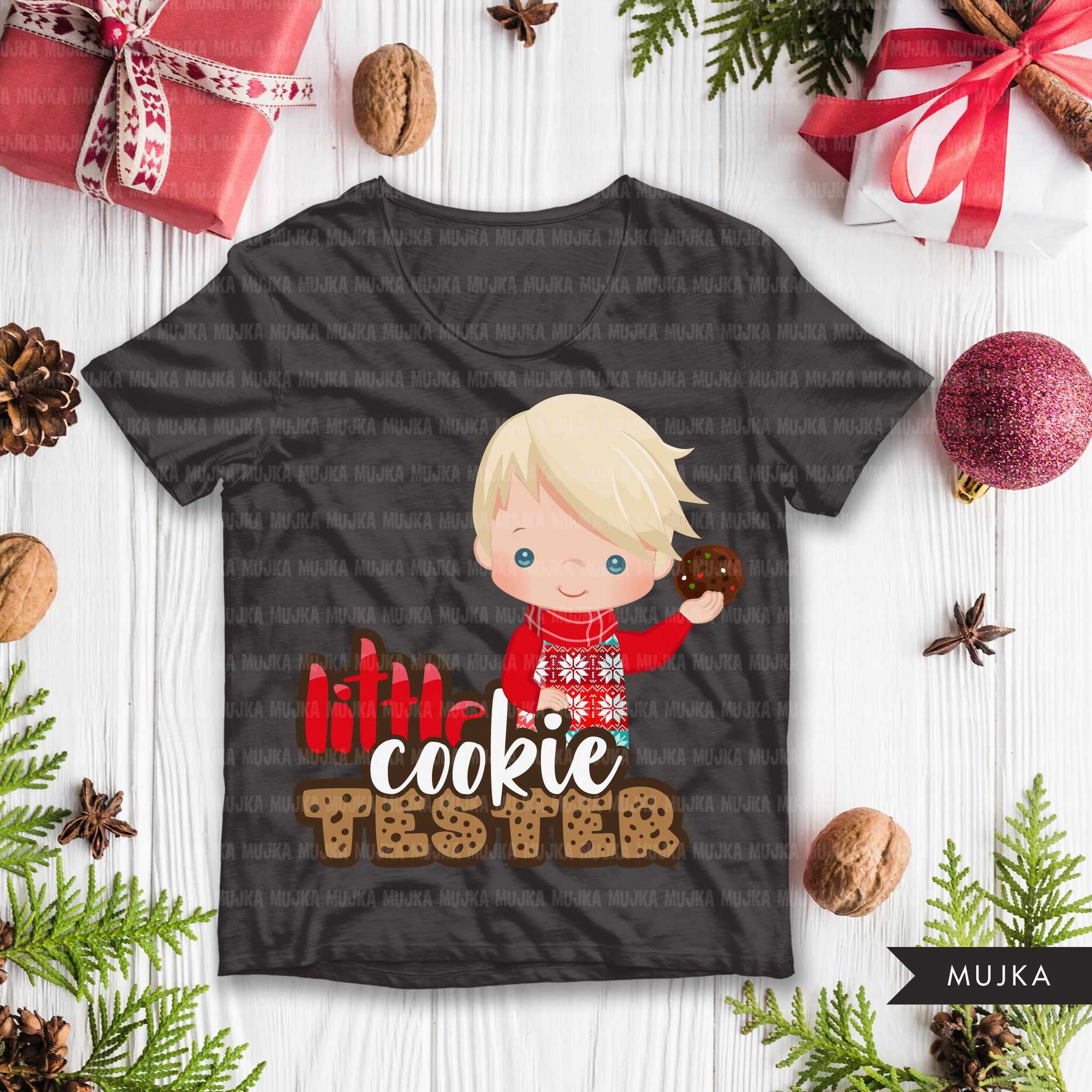 Christmas PNG digital, Little cookie Tester Printable HTV sublimation image transfer clipart, t-shirt boy graphics