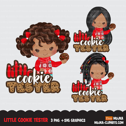 Christmas PNG digital, Little cookie Tester Printable HTV sublimation image transfer clipart, t-shirt Afro black girl graphics