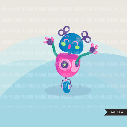 Robot Clipart, cute colorful pastel robots, machine, kawaii graphics