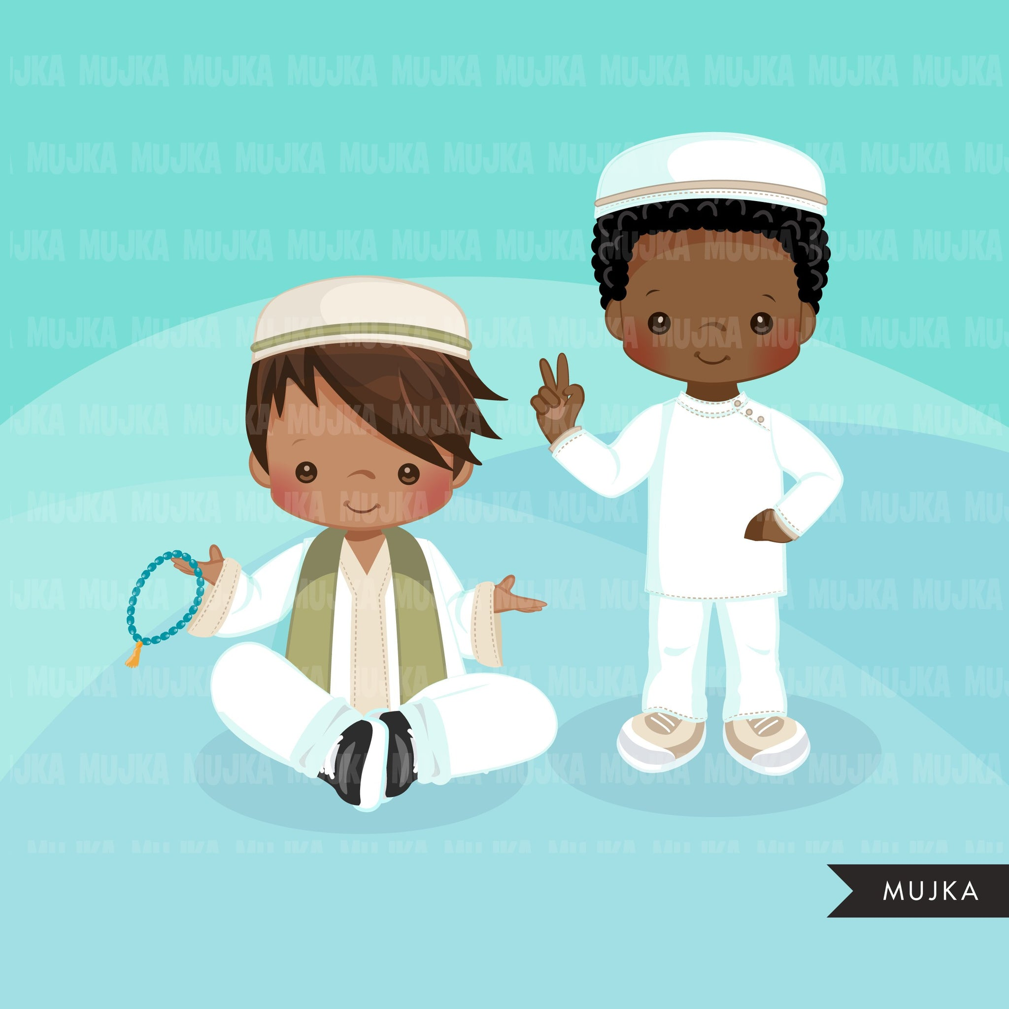 Muslim boys clipart. Islam graphics, Quran reading kids with Taqiyah and Misbaha, Tasbih clip art