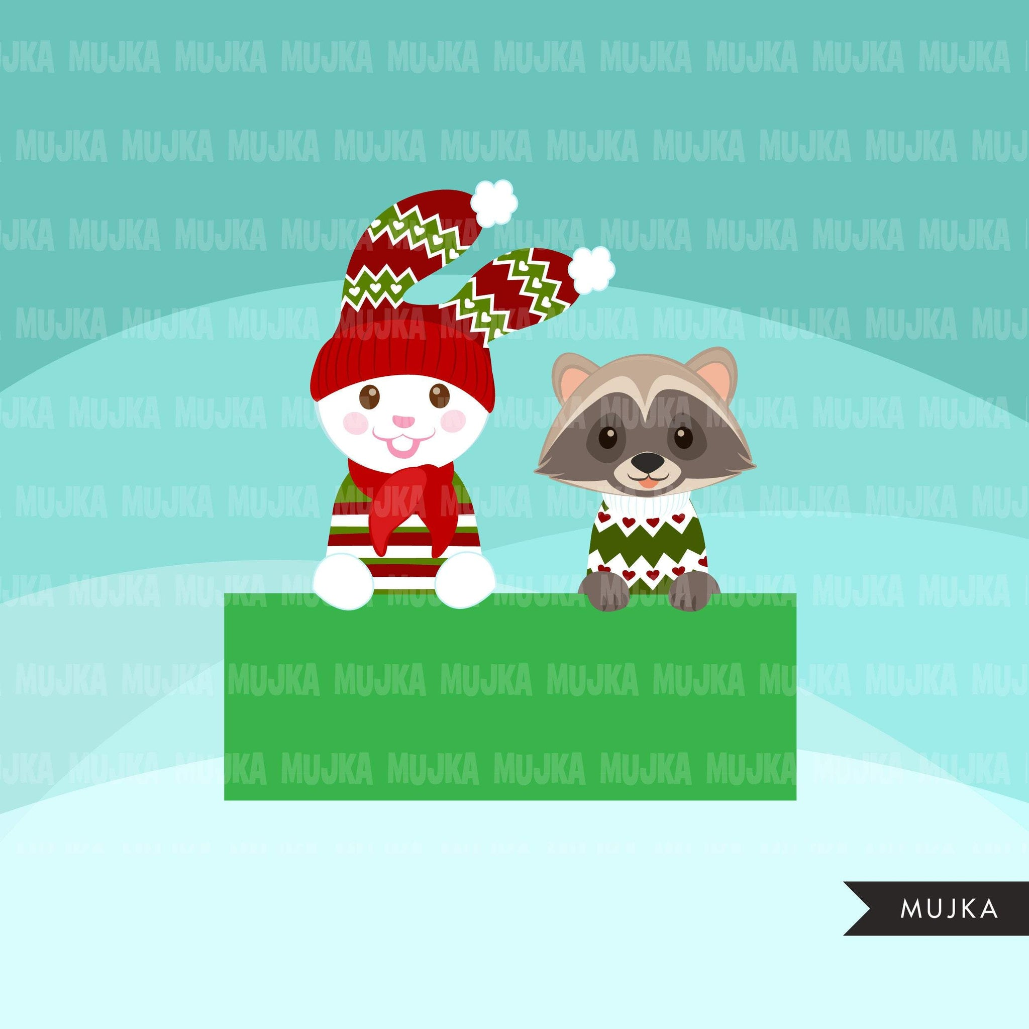 Christmas animals clipart, cute noel graphics, bunny, racoon, fox, bear, reindeer, hippo clip art