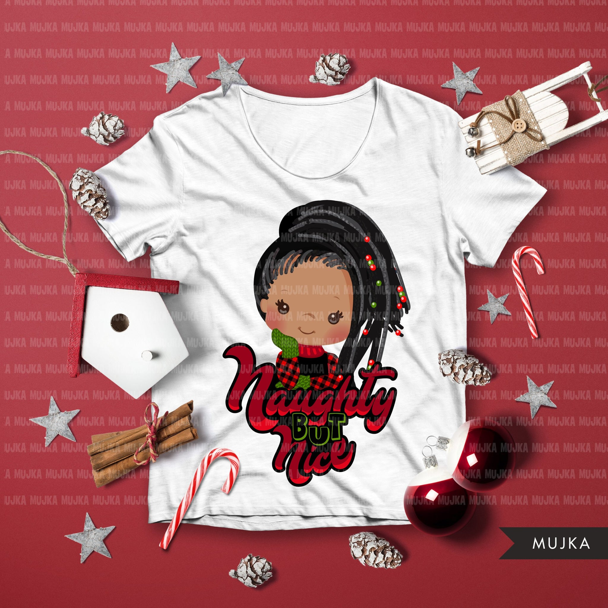 Christmas PNG digital, Afro Naughty but Nice HTV sublimation image transfer clipart, t-shirt graphics, Afro Plaid little girl characters