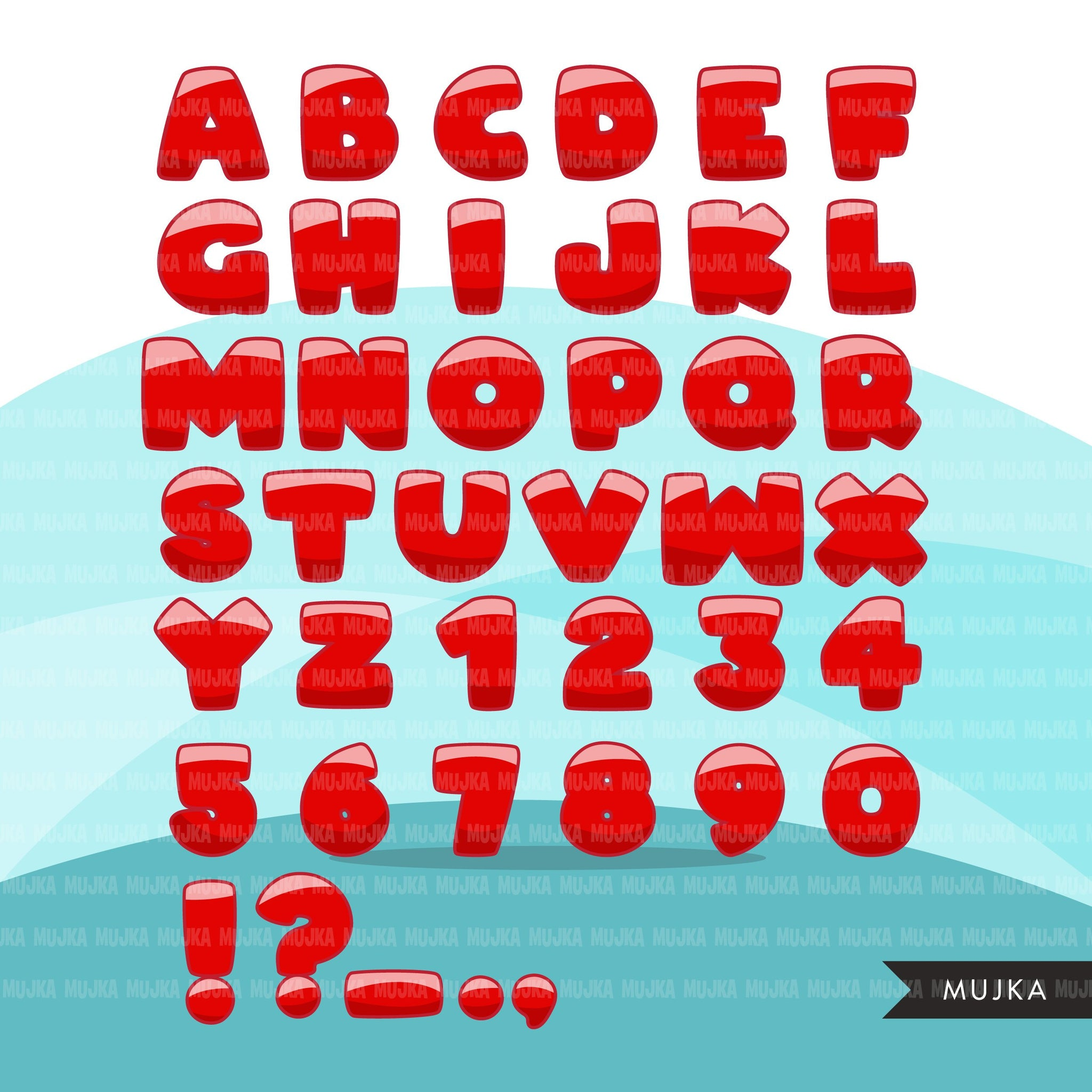 Christmas Alphabet Clipart, red, stripe green letters cute PNG graphics, Candy cane santa hat