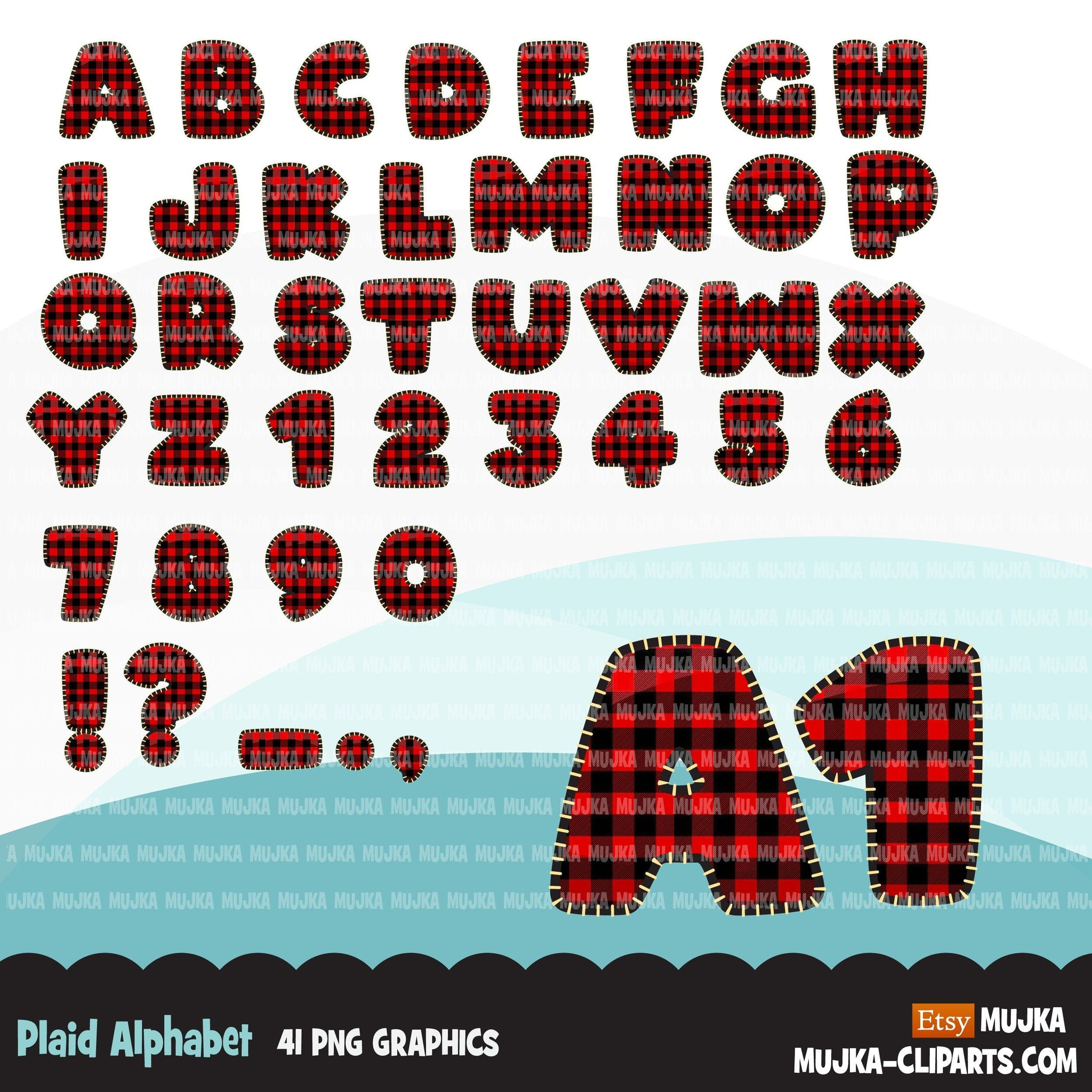 Christmas Plaid Alphabet Clipart plaid letters and numbers cute Christmas PNG graphics, stitched outline