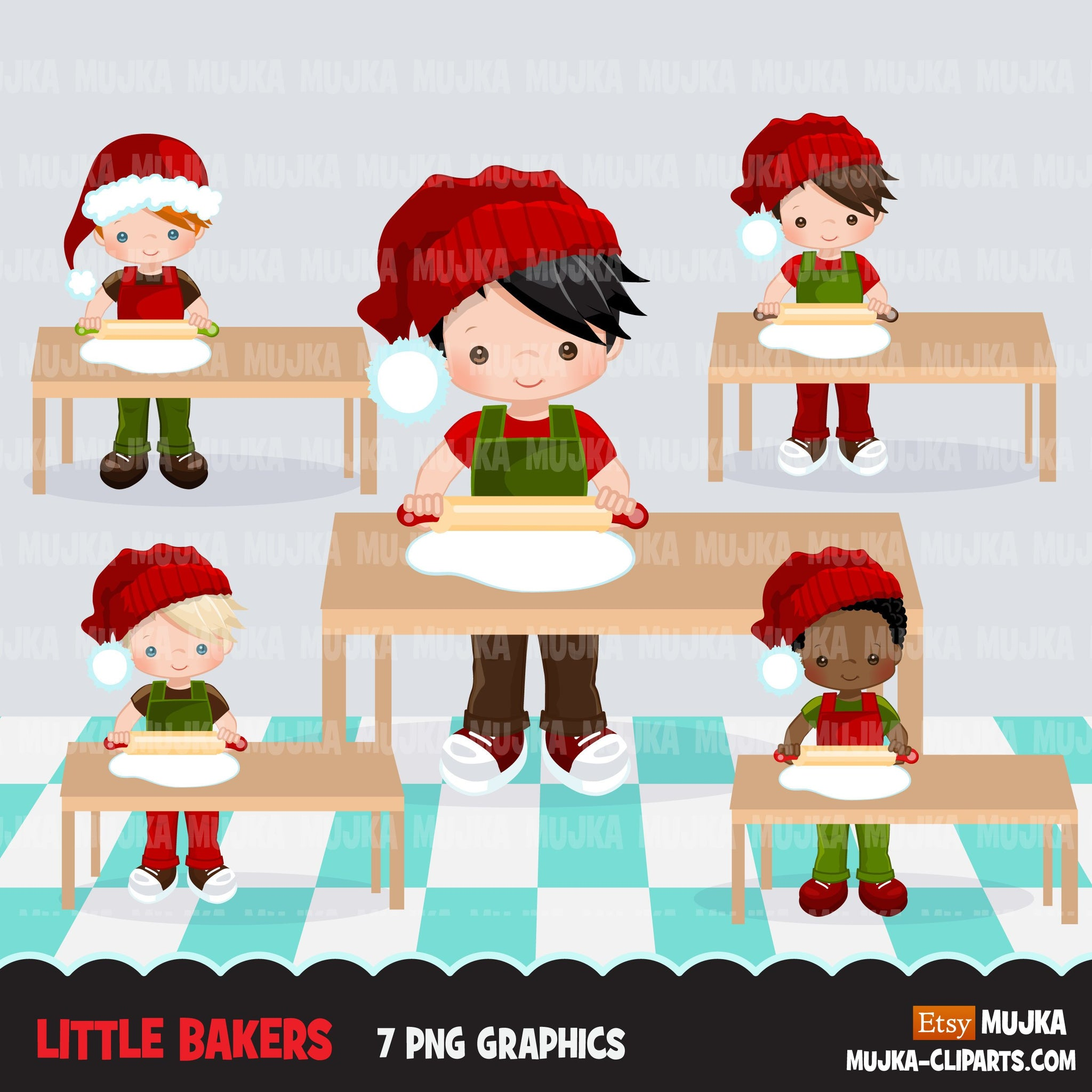 Christmas Baking Clipart, Cute baker boy characters, kitchen baking party, rollling pin, pastry chef, cookie graphics, baking fun clip art