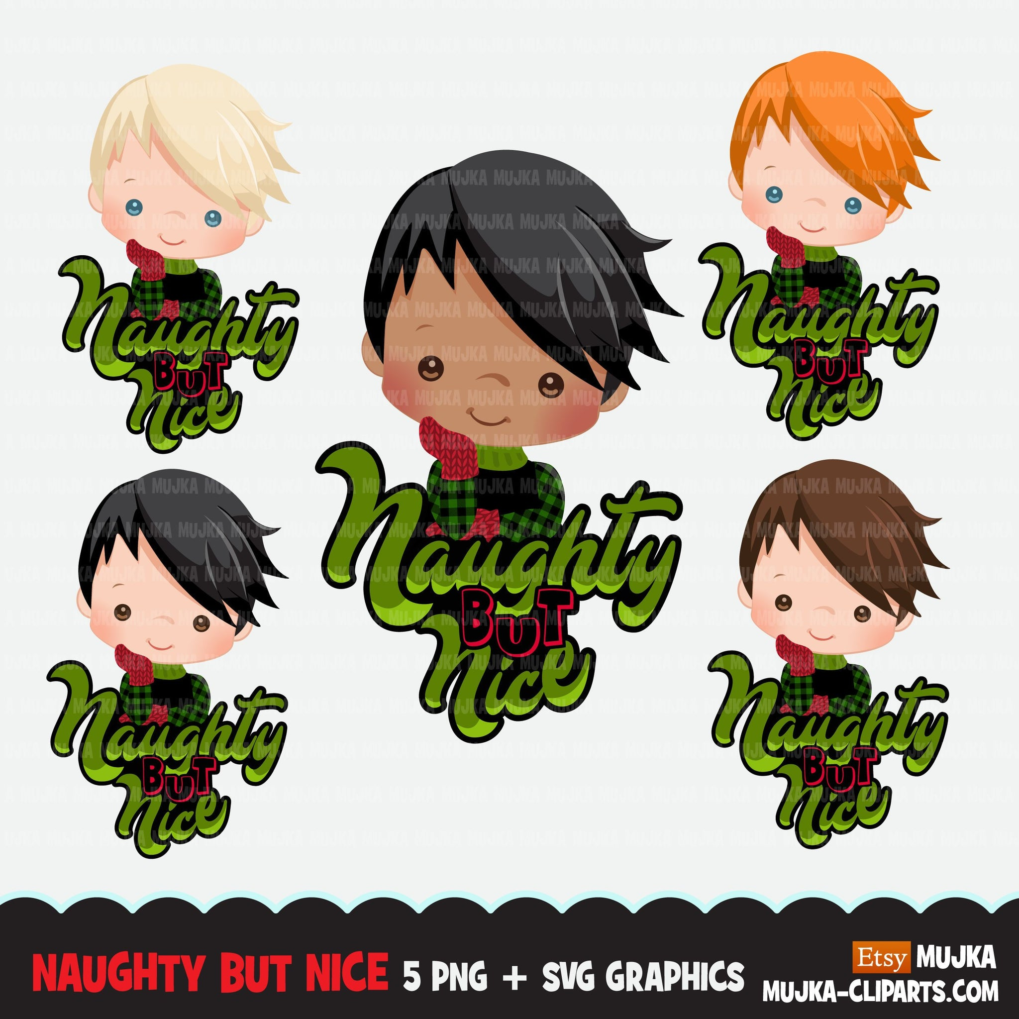 Christmas SVG PNG digital, Naughty but Nice HTV sublimation image transfer clipart, t-shirt graphics, Plaid little boy characters