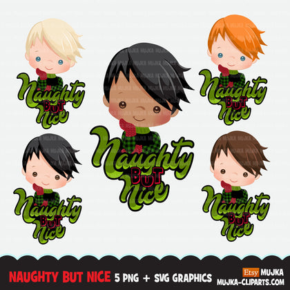 Christmas PNG digital, Naughty or Nice Printable HTV sublimation image transfer clipart, t-shirt boy graphics