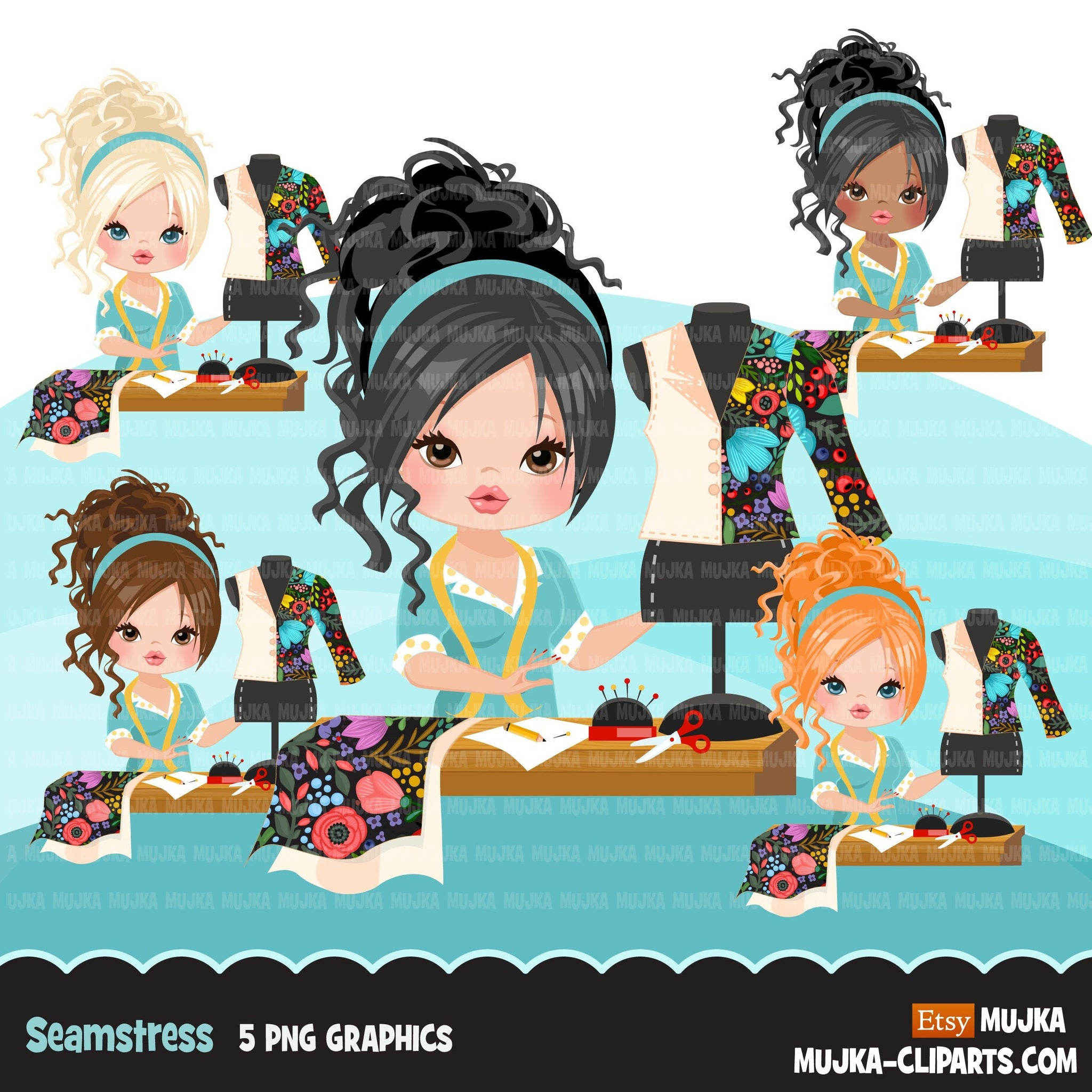 Woman seamstress avatar clipart with sewing graphics girl, print and cut T-Shirt Designs, taylor clip art