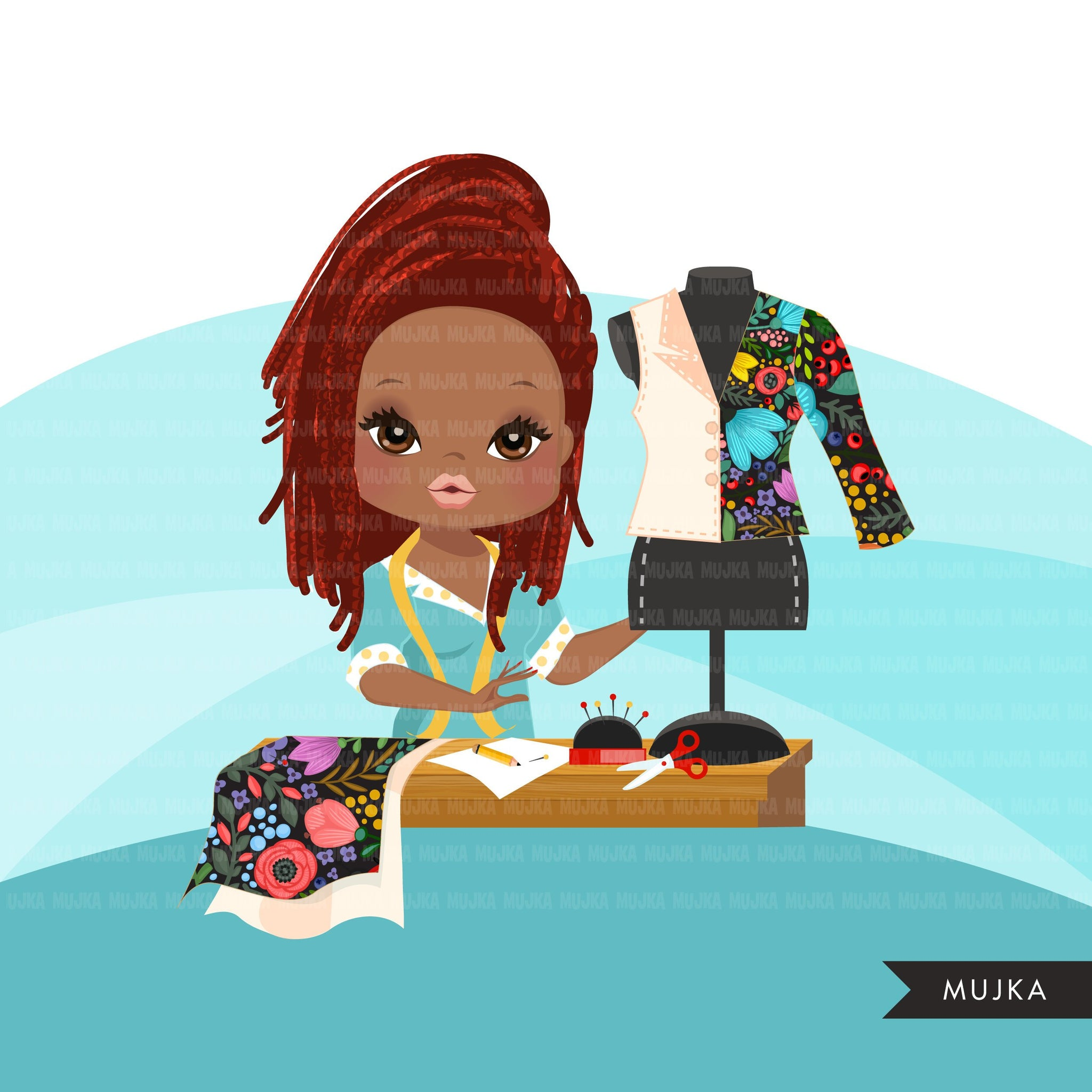 Afro braids Woman seamstress avatar clipart with sewing graphics girl, print and cut T-Shirt Designs, taylor clip art