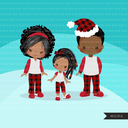 Christmas Pajama Black family clipart, portraits, mom, dad, grandparents, baby, kids afro family graphics, plaid commercial use PNG