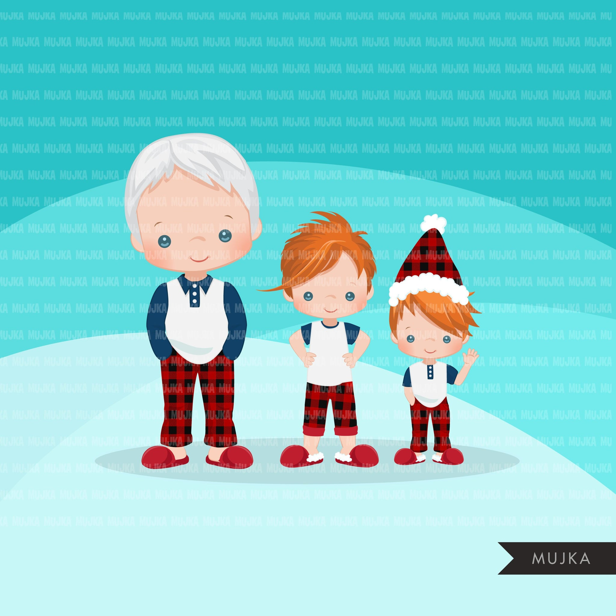 Christmas Pajama family clipart, portraits, mom, dad, grandparents, baby, kids red head graphics, commercial use PNG