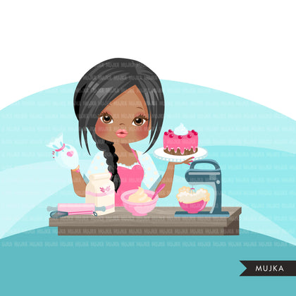 Woman baker avatar clipart with baking supplies, print and cut, baking girl clip art