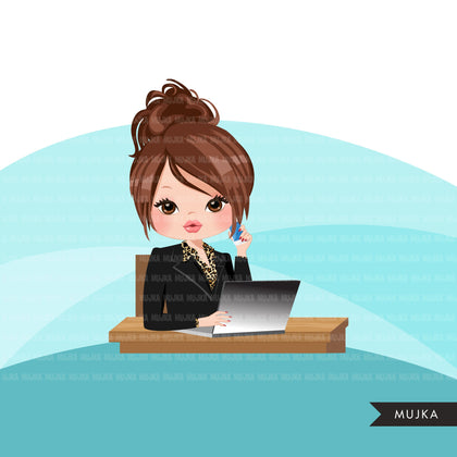 Woman business avatar clipart with laptop and cellphone, print and cut, business boss girl clip art