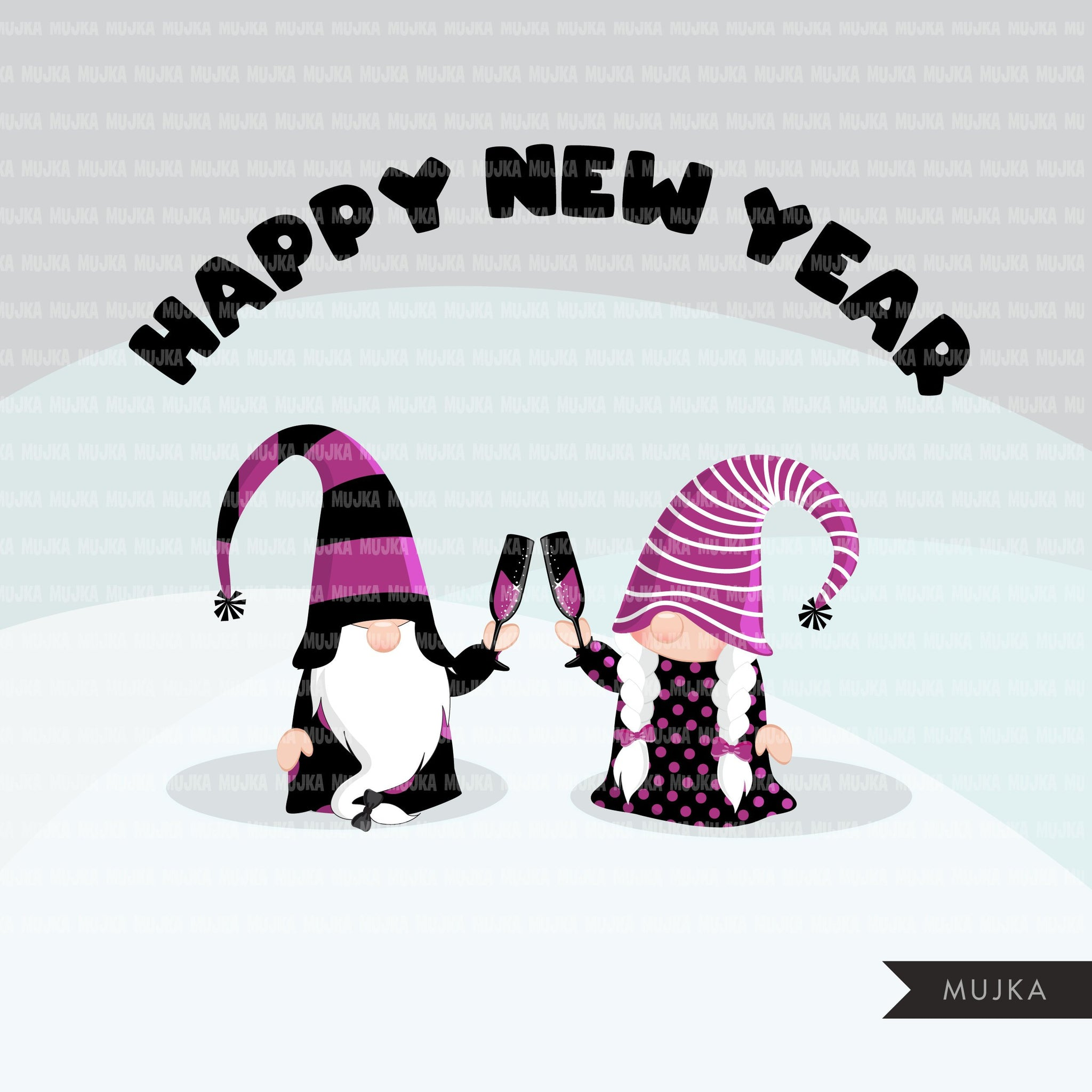 Gnome Clipart, happy New year graphics, celebrating gnomes, balloons, champagne png commercial use purple black