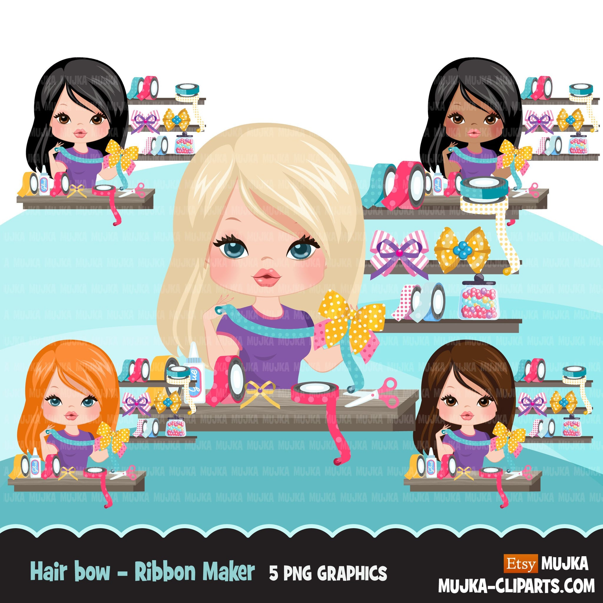 Woman hair bow maker avatar clipart with ribbons, print and cut, bow maker boss girl clip art