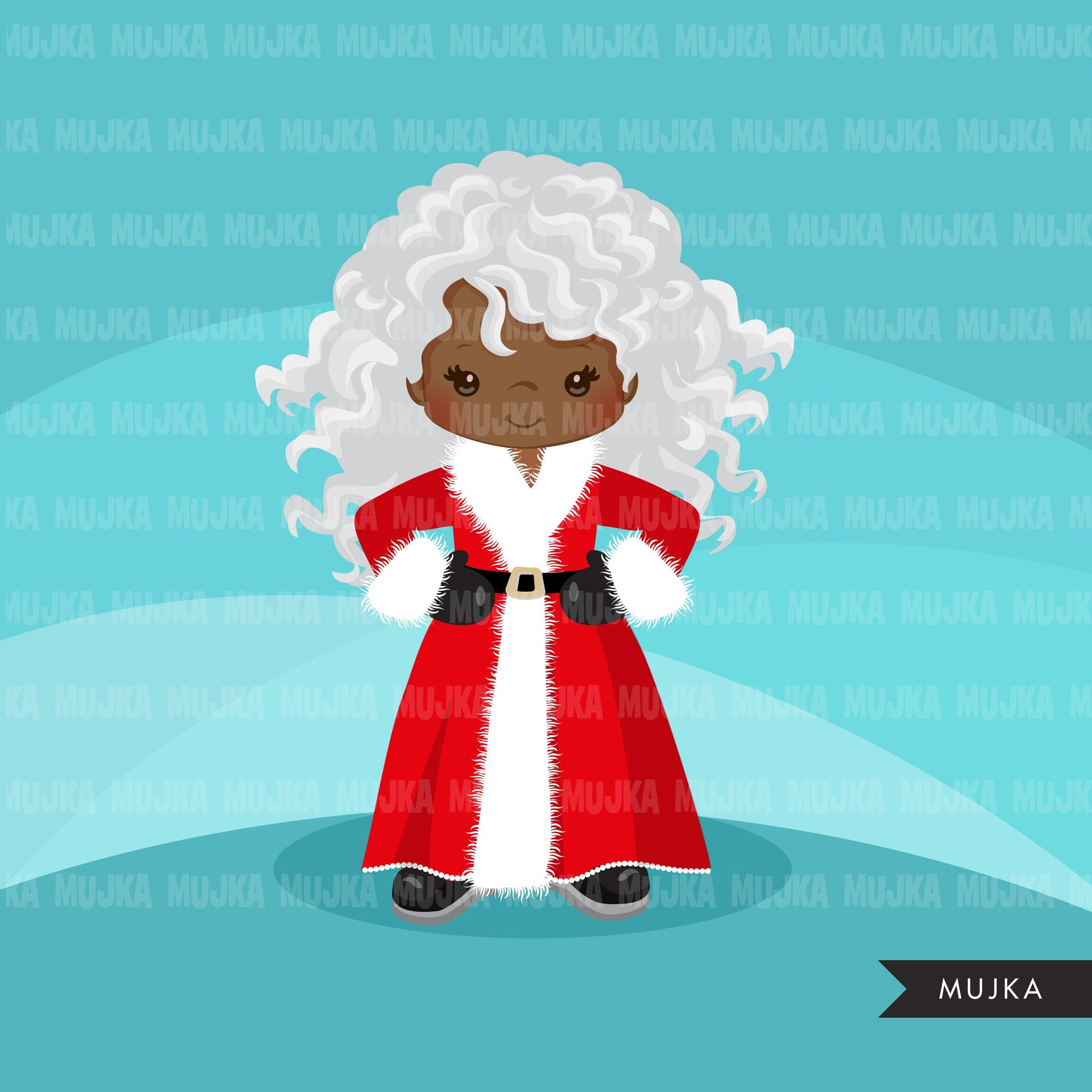 Black Mrs Santa Clipart, Christmas Graphics, Santa's wife, noel illustrations, scrapbooking, commercial use Holiday graphics